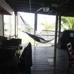 screened porch with double hammock