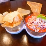 Ceviche with fried wonton chips