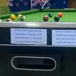 ext in the front of the pool table, tells everything of the owners good attitude