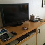 cramped tv and an office desk, thats what avaits