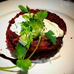 Lunch Menu: Beetroot Potato Latkes with Dill Soft Cheese