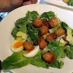 Crumbed scallop ceasar salad