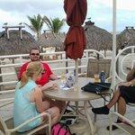 having a little vino on beach terrace