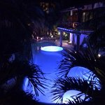 The gorgeous pool at night time