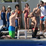 Beer drinking contest at the pool