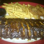 Jack Daniel's Full rack of ribs with fries and onion rings