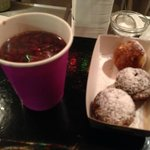 Danish Gløgg (mulled wine) and Aebleskivers (apple cakes) at the Christiania Christmas market