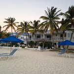 Shoal Bay Villas as seen from the beach, chairs and umbrellas are where you'll spend your days u