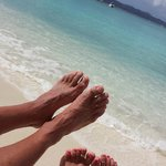 relaxing on the beach of Caneel Bay