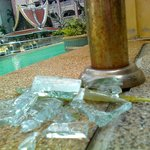 Glass from the bottom of the swimming pool