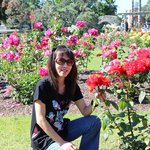 My wife enjoying the red roses