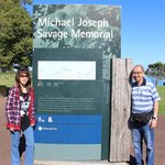 With my wife at the entrance of Michael Joseph Savage Memorial Park