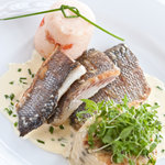Seabass fillets with a prawn subic, dauphinoise potato and chive cream sauce