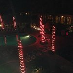 night time view from room of pool area