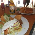 Fried grouper and our Chicken tacos and guacomole..yum