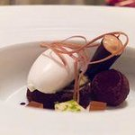 Valrhona chocolate with Caramel Mousse and ice cream