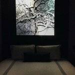 Backlit headboard and bed.