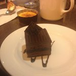 One of the desserts, with the logo on that piece of chocolate on top!