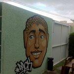 Grafite na Área comum do Hostel