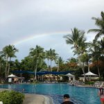 Rainbow over Lagoon Pool after a brief shower