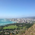From diamond head: the hotel is right past the trees on the outskirts of Waikiki. Best location!