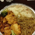 Chinese night (good sesame chicken w noodles and fried rice), plus it also came with chinese sla