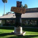 Bear  statue outside of the restaurant