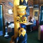 inside the restaurant  Bear wood carvings