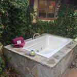 Hot tub on patio of Villa 3