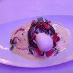 Rooibos malva pudding with ice cream, strawberries and custard. Quite decadent!