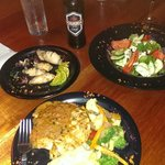 Calimari, salad and baked chicken
