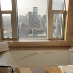 a large bathtub with a view