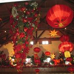 A view of the lobby decorated for Chinese New Year