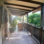 The upstairs balcony