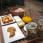 Breakfast outside in the garden