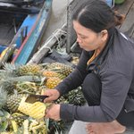 fresh pineapple for breakfast at the floating village
