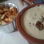 Cheese fondue with pickle