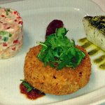 Valentines shaing trio of seafood
