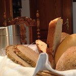 Breakfast basket of breads.