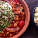 Meat free Monday special - slow braised chickpeas, green Harissa & almond cous cous