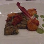 Charcoal grilled mediterranean vegetable terrine with prawns - starter - wonderfully tasty