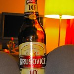 enjoying our favorite Czech beer in our room