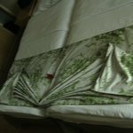 Bed made up by cleaner