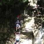 Climbing up the waterfall.