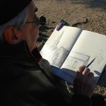 Plein air drawing and painting seen regularly in town