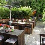 De tuin van Hotel Mimosa