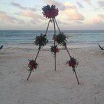 Flowers ready for wedding on beach
