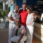 The excellent beach bar staff - Kelvin, Lino, and Confesor