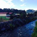 View of hotel on left from bridge over rio caldera