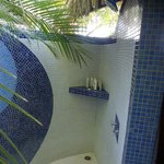 Our outdoor shower where you bathe under the stars